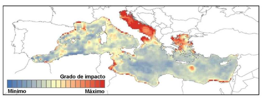 Identifying the most threatened areas by human activity in the Mediterranean Sea